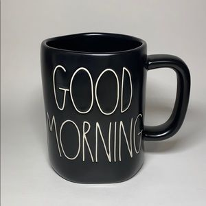 NWT Rae Dunn GOOD MORNING Black Mug